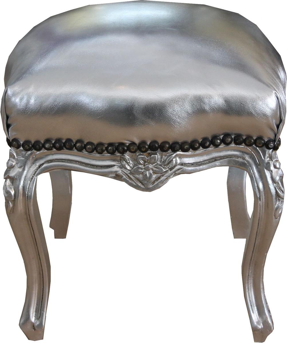 Casa Padrino Barock Sitzhocker Silber  Silber Hhe 40 cm Breite 35 cm  Barock Mbel Hocker