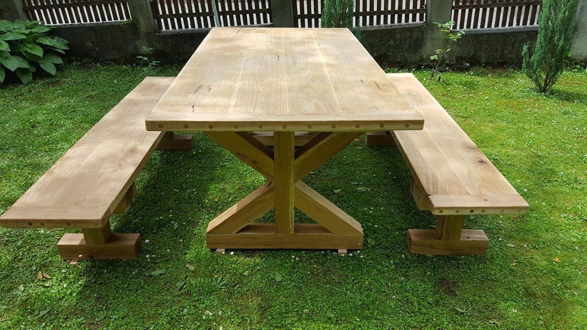 casa padrino meubles de jardin table rustique 2 bancs de jardin longueur 200 cm chene bois massif veritables meubles en bois massif