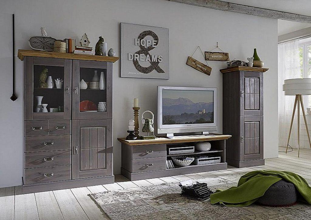 Wohnzimmerschrank 66x164x48cm 2 Holztren Kiefer massiv 2farbig grau lasiert  gelaugt gelt