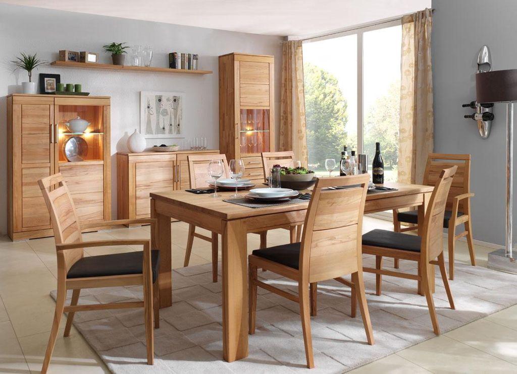 Massivholz Esszimmer komplett Tisch 150x95 cm Kernbuche massiv Esszimmersthle LederPolster braun