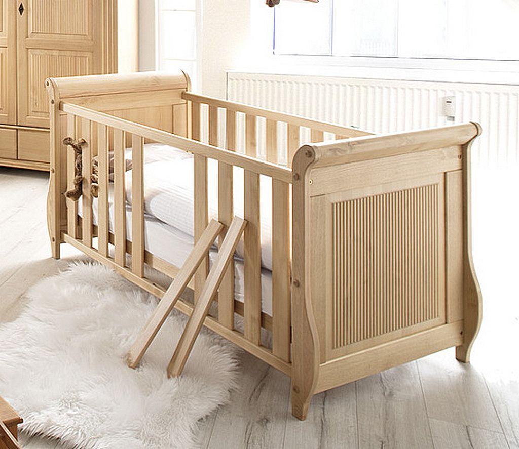 Massivholz Kinderbett Juniorbett antik lackiert Babybett