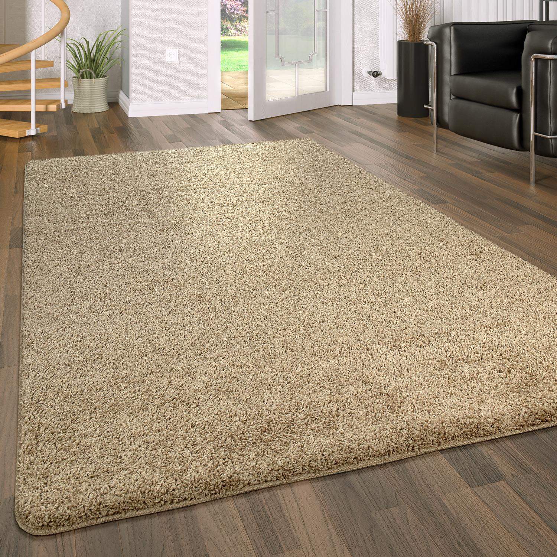 Hochflor Teppich Waschbar Einfarbig Beige  Teppichde