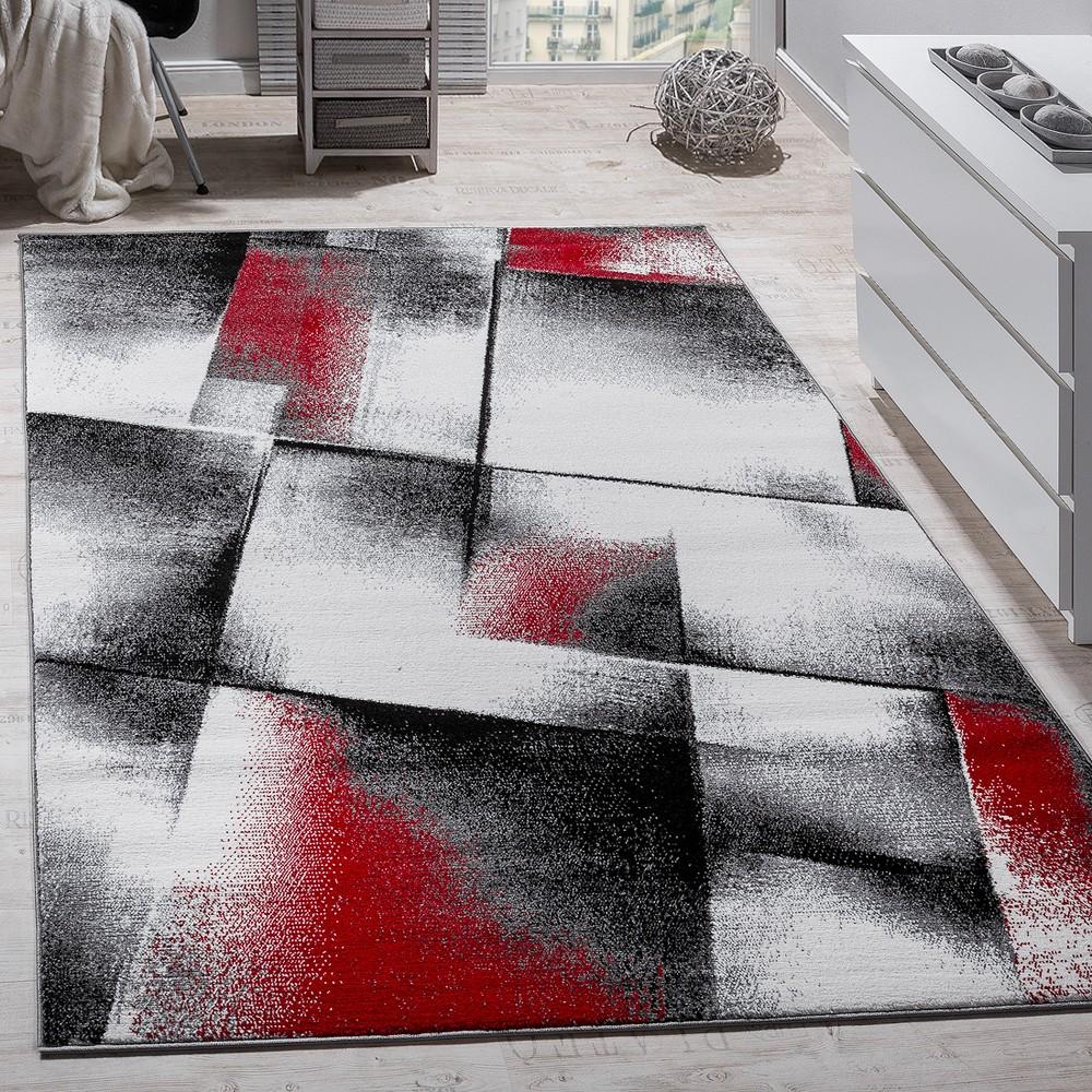 Wohnzimmer Teppich Kurzflor Rot Grau  Teppichde