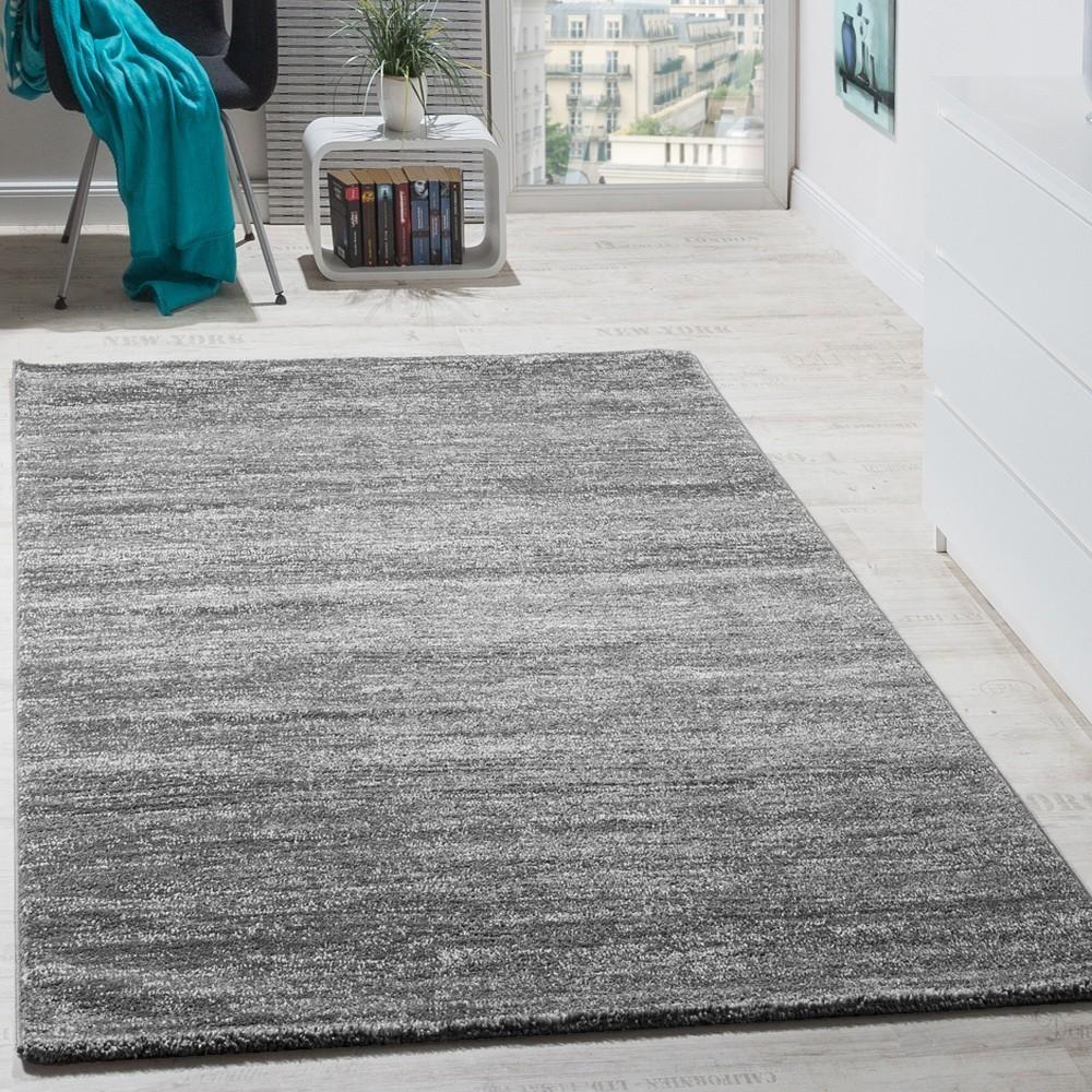 Teppich Modern Wohnzimmer Kurzflor Grau  Teppichde