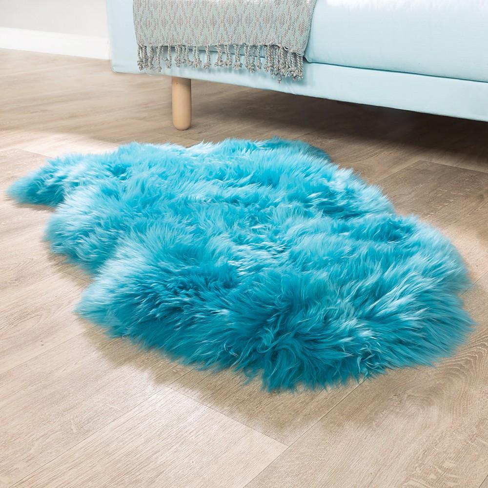 details sur australien peau d agneau peau naturelle descente de lit veritable peau en bleu p
