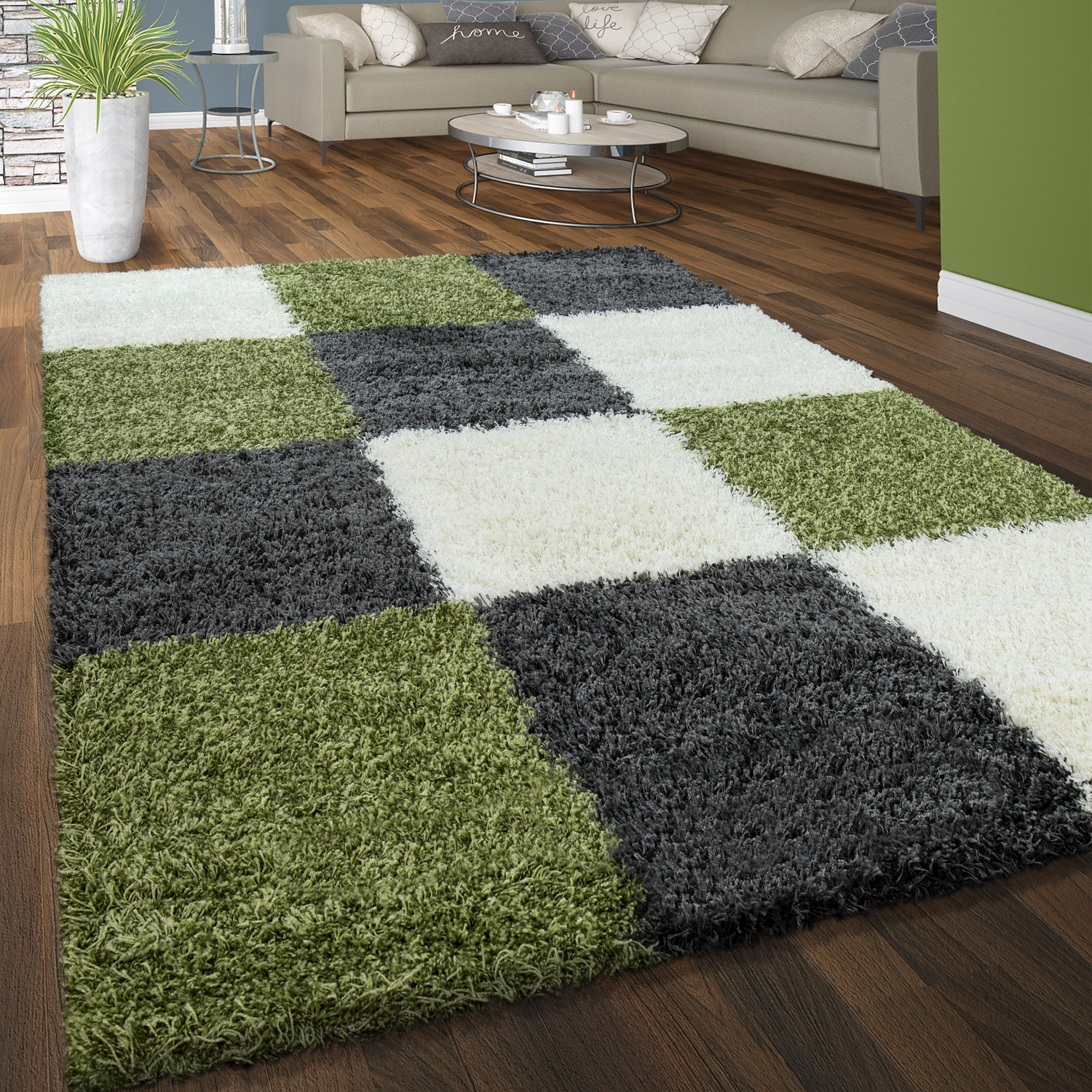 Teppich Shaggy Shine Deep Pile Rug Check Green White Grey