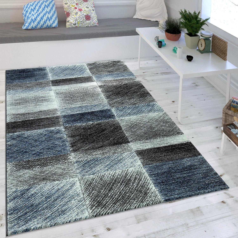 Moderner Karo Teppich Vintage Blau  Teppichde