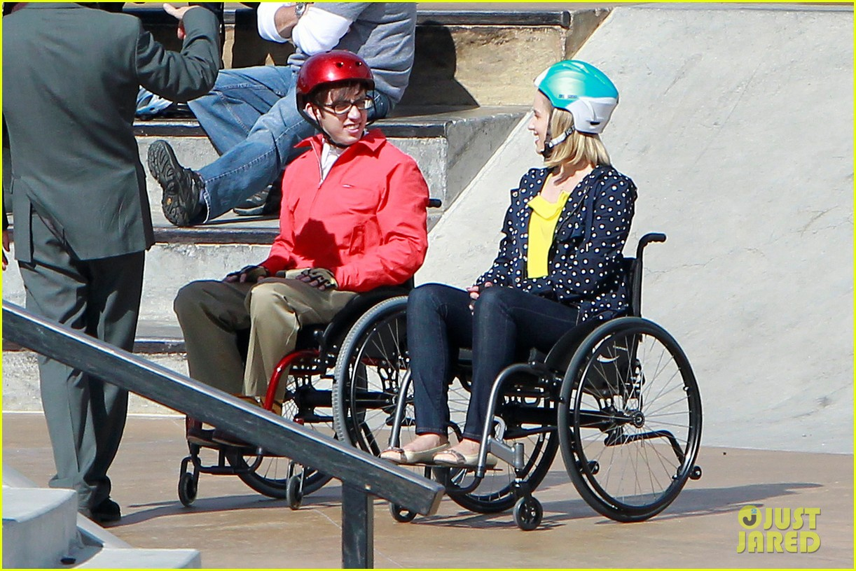 wheelchair glee wicker dining chairs indoor uk full sized photo of dianna agron kevin mchale wheelchairs