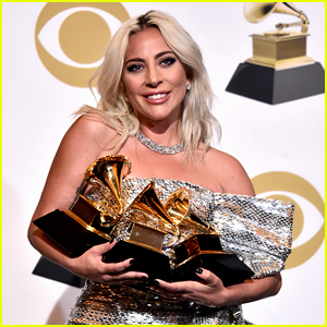 Lady Gaga Poses with Her Three Grammys in the Press Room