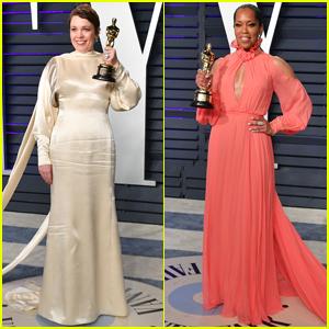 Olivia Colman & Regina King Bring Their Oscars to Vanity Fair's Party!