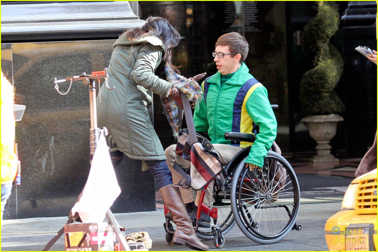 wheelchair glee swivel chair amazon kevin mchale run in on 39glee 39 set photo