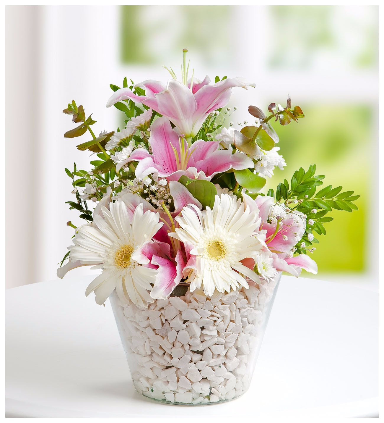 pink lilies and white