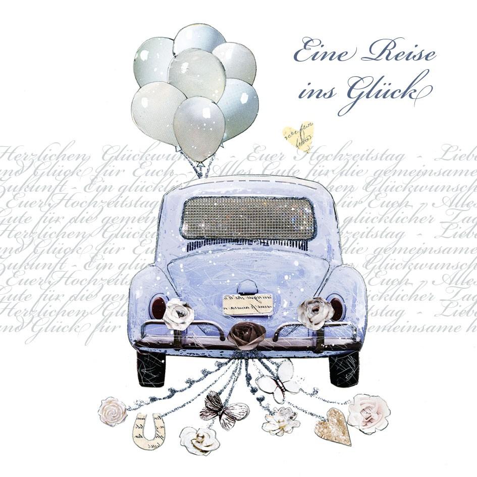 Swarovski Elements Hochzeit Grukarte Handmade PopShot Reise ins Glck Auto 8x8cm  123geburtstag