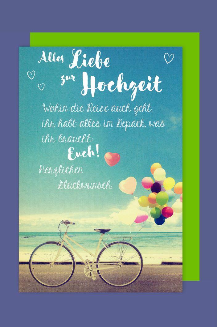 Trauung Hochzeit Grukarte Karte Fahrrad Ballons 16x11cm