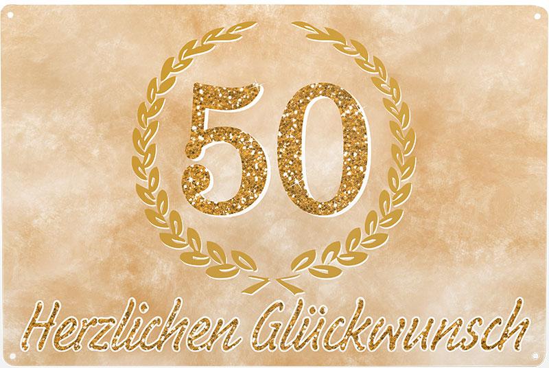 Blechschild 50 Herzlichen Glckwunsch goldene Hochzeit