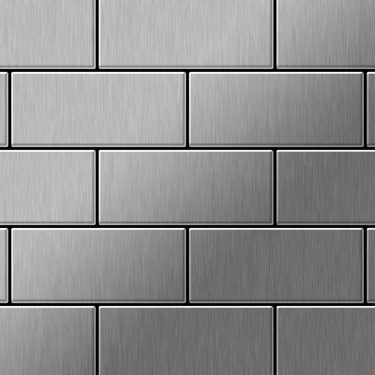 Mosaik Fliese massiv Metall Edelstahl gebrstet in grau 16mm stark ALLOY SubwaySSB 058 m2