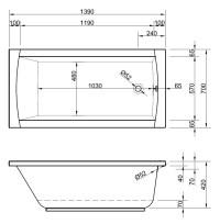 Rechteck Badewanne 140 x 70 cm kleine Wanne fr mini Bder