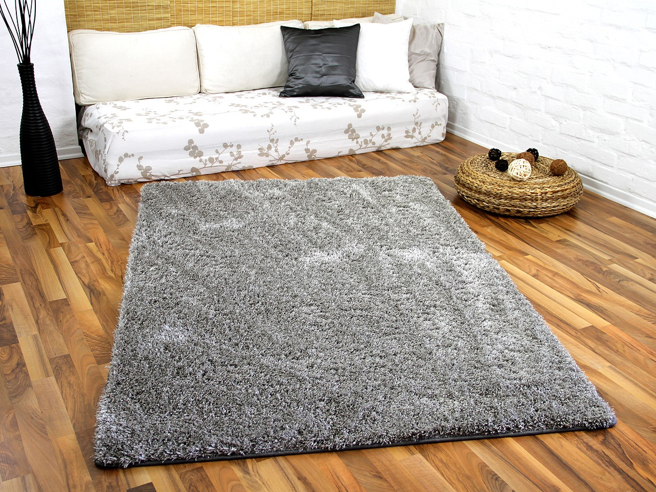 Shaggy Teppich Saugroboter Hochflor Shaggy Teppich Luxus Feeling Mix Silber In 24
