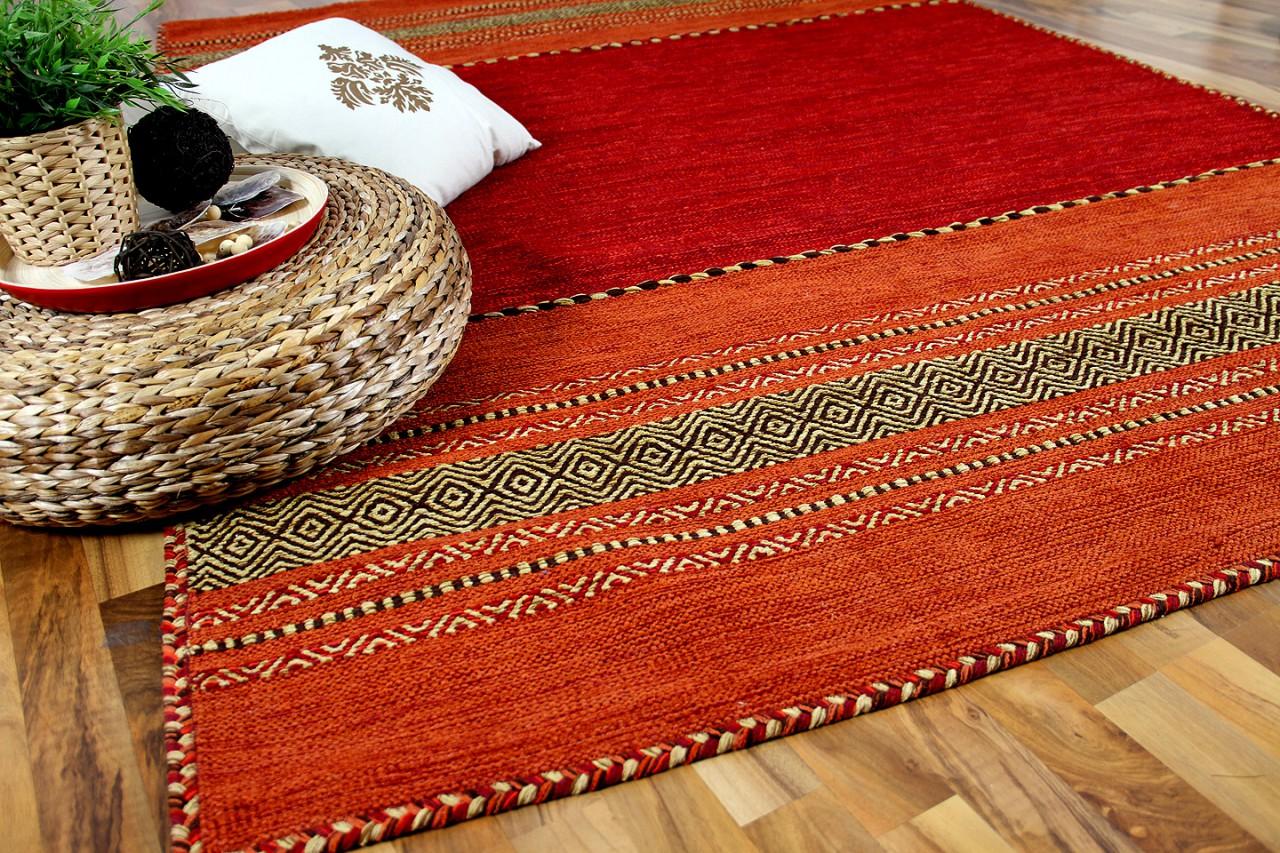 Kelim Teppich Kaufen Natur Teppich Kelim Navarro Rot Orange