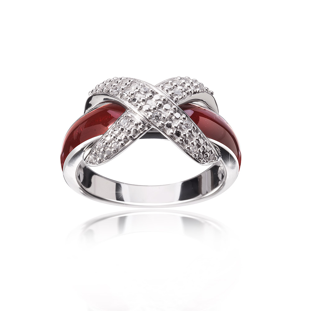 MATERIA Emaille Ring Schleife 925 Silber Zirkonia bordeaux