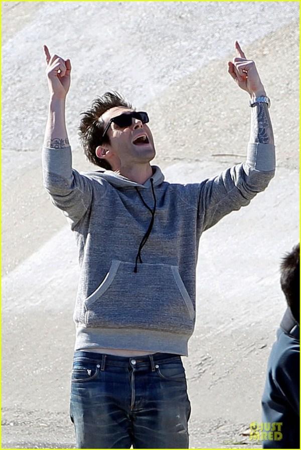 Adam Levine Andy Samberg Music Video Shoot With Lonely Island