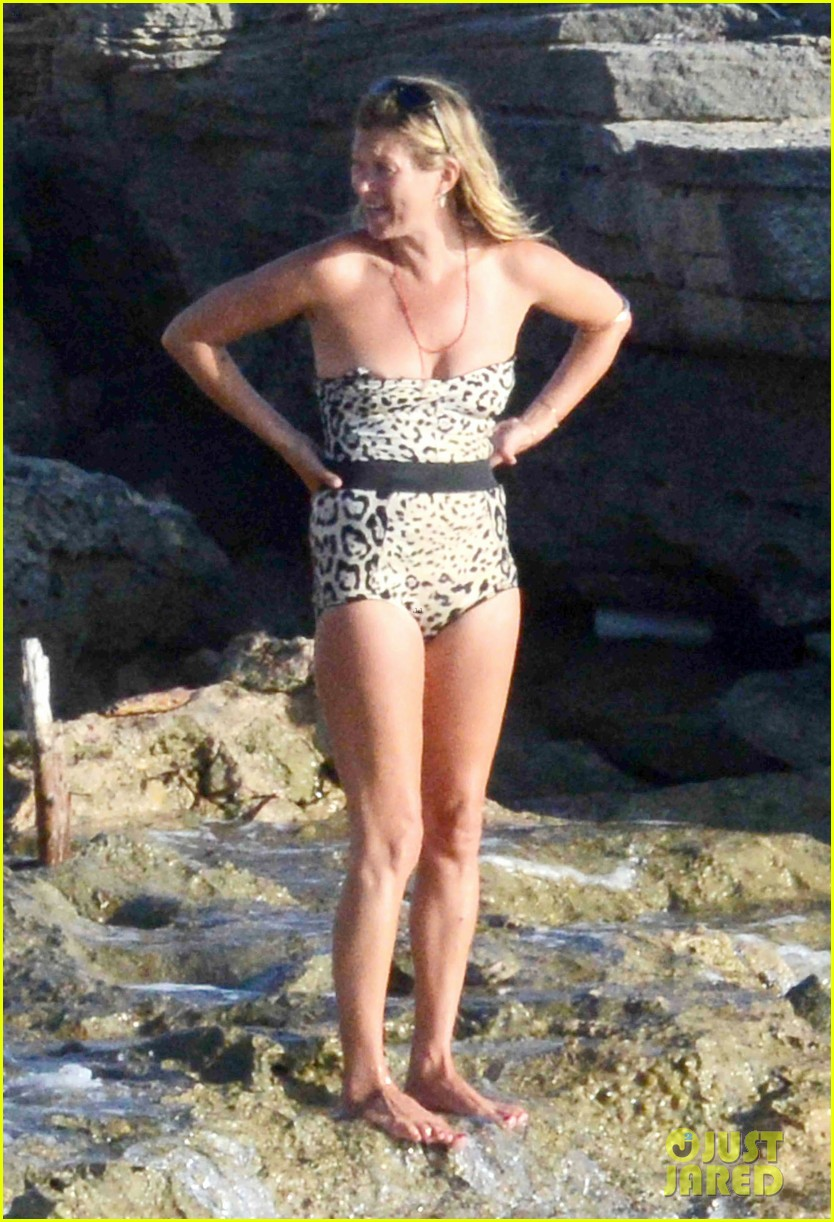 Kate Moss Shows Off Her Figure in AnimalPrint Bathing Suit Photo 3178060  Bikini Kate Moss