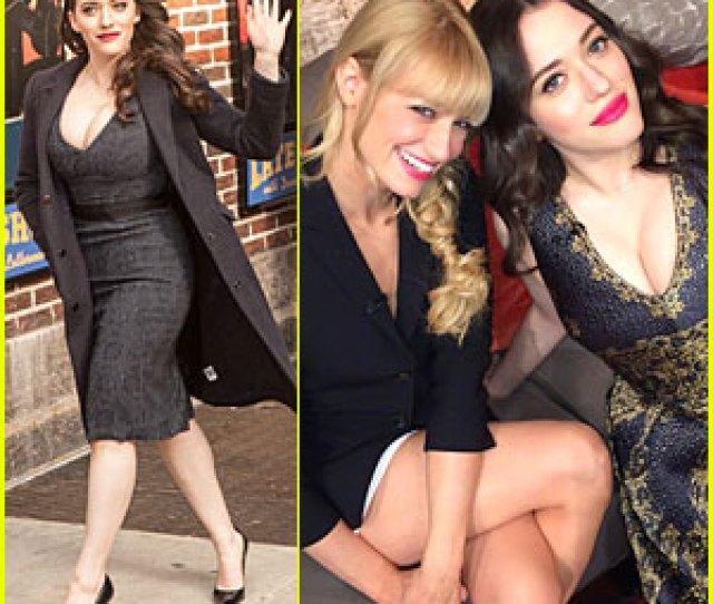 Kat Dennings Bares Cleavage For 2 Broke Girls Promo Tour