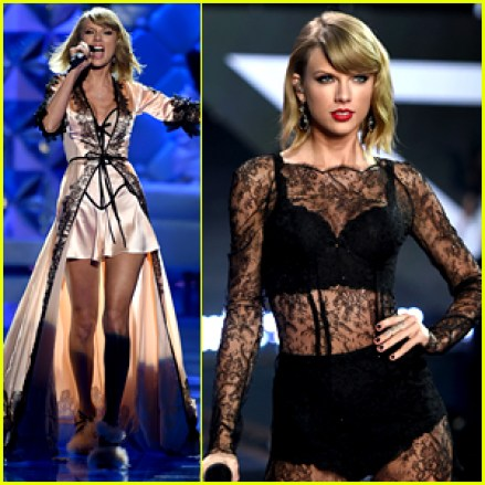 Taylor Swift clad in lingerie at Victoria's Secret Fashion show 2014