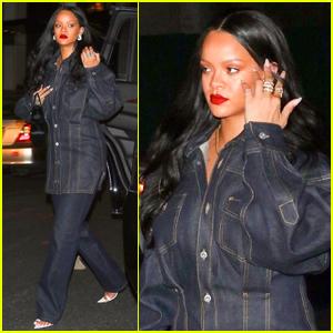 Rihanna Rocks Denim on Denim for Night Out in NYC