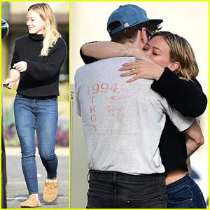 Hilary Duff & Fiance Matthew Koma Share a Hug at Breakfast