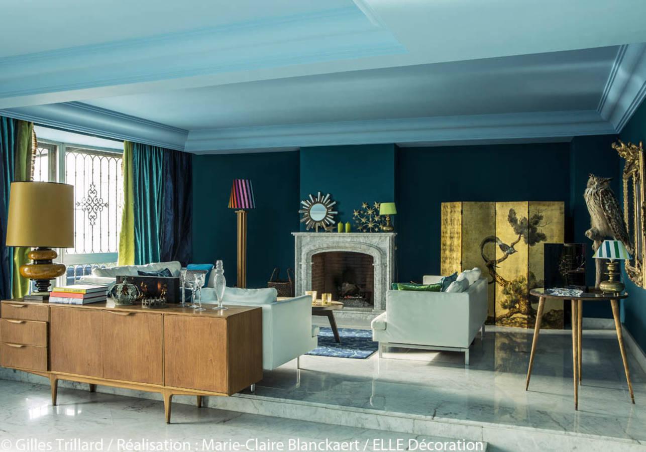 Salon Bleu Canard Et Bois