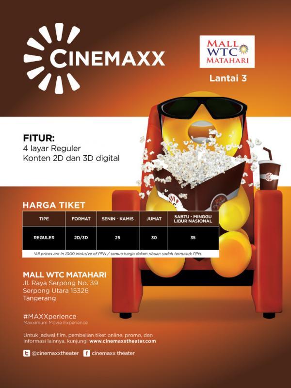 Jadwal Cinemaxx Wtc : jadwal, cinemaxx, Cinemaxx, Resmikan, Bioskop, Matahari, Serpong, ShowBiz, Liputan6.com