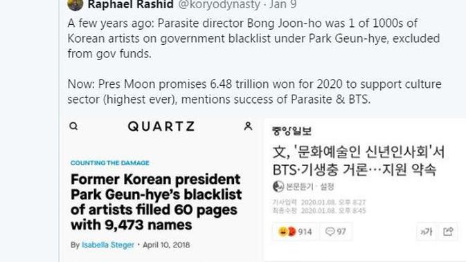 Sutradara Parasite Peraih Piala Oscar Pernah Masuk Daftar Hitam Pemerintah Korea Selatan
