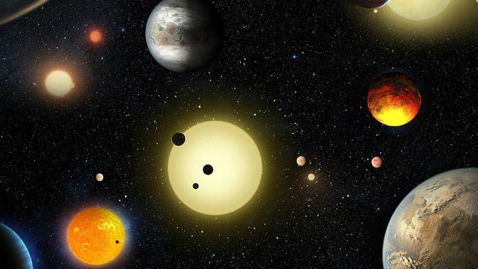 Ilustrasi planet-planet yang ditemukan oleh Teleskop Kepler (NASA Ames/W. Stenzel)