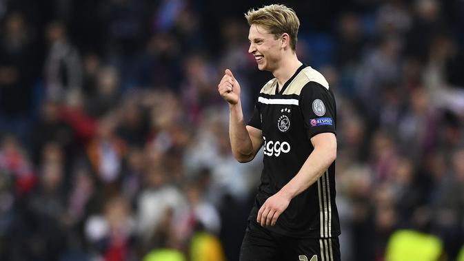 Frenkie de Jong setelah menyingkirkan Real Madrid dari Liga Champions 2018-2019. (AFP/Gabriel Bouys)