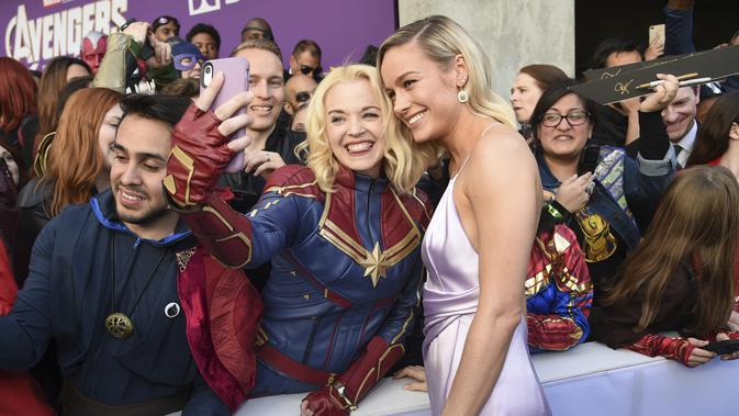 Brie Larson dalam penayangan perdana Avengers: Endgame di Los Angeles  Convention Center Senin, 22 April 2019. (Chris Pizzello/Invision/AP)