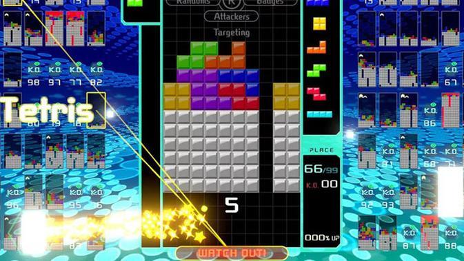 Turnamen esports Tetris 99. (Doc: The Verge)