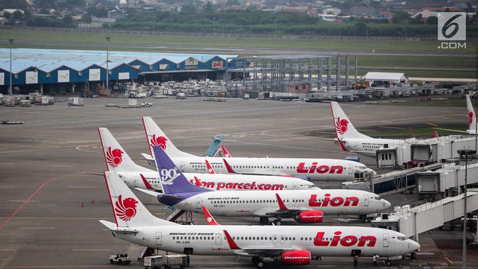 Pesawat maskapai Lion Air terparkir di areal Bandara Soekarno Hatta, Tangerang, Kamis (16/5/2019). Berdasarkan hasil Rapat Koordinasi antara Kementerian Bidang Perekonomian dan Kementerian Perhubungan memutuskan tarif batas atas tiket pesawat turun sebesar 12-16 persen. (News/Faizal Fanani)