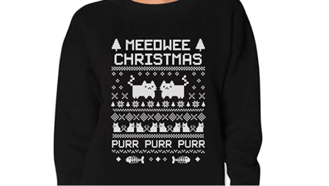 A meowee Christmas holiday sweater