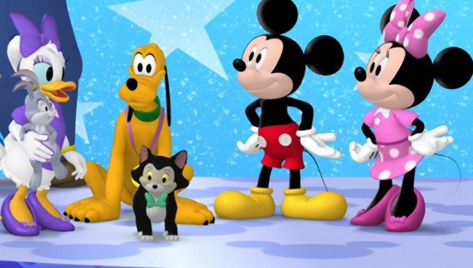 "MICKEY MOUSE CLUBHOUSE - ""Minnie's Pet Salon"" - Minnie and the Clubhouse pals get their pets ready for Pluto's All-Star Pet Show at Minnie's Pet Salon. This episode of Disney Junior's ""Mickey Mouse Clubhouse"" airs FRIDAY, APRIL 5 on Disney Junior (8:30 AM - 9:00 AM ET/PT). (Image by Disney Junior via Getty Images) This episode of Disney Junior's ""Mickey Mouse Clubhouse"" airs Friday, November 22 on Disney Junior (9:00 AM - 9:30 AM ET/PT). (Image by Disney Junior via Getty Images) MOUSEKA, MR. PETTYBONE, MOOSKA, FIONA THE FROG, GOOFY, MISHKA, CLARABELL COW, BOO BOO CHICKEN, DONALD DUCK, CAPTAIN JUMPS-A-LOT, DAISY DUCK, PETE THE CAT, PLUTO, FIGARO, MICKEY MOUSE, MINNIE MOUSE"