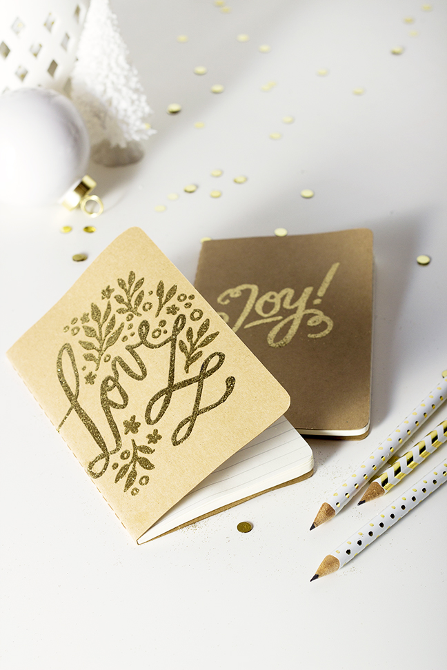 DIY Holiday Gifts Embossed Calligraphy Notebooks