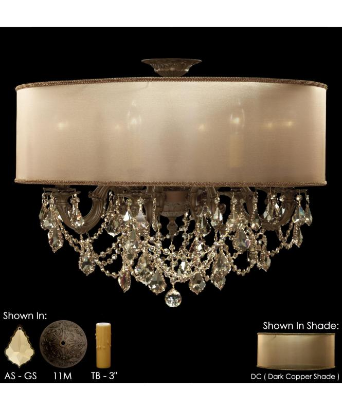 Shown In Light Bronze Matte Finish With Golden Shadow Strass Pendalogue Crystal Dark Copper Shade