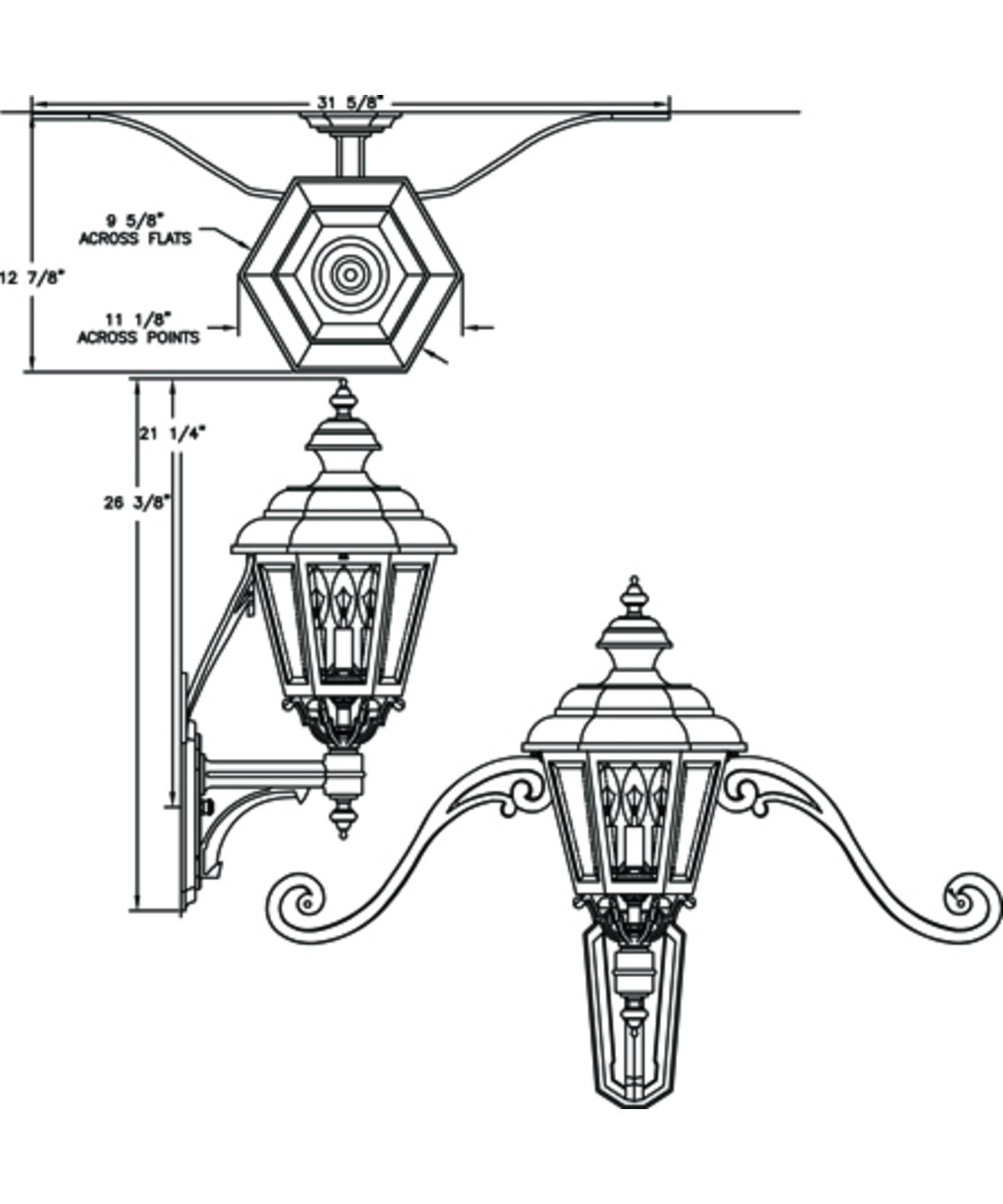 Hanover Lantern B Jamestown Medium 3 Light Outdoor