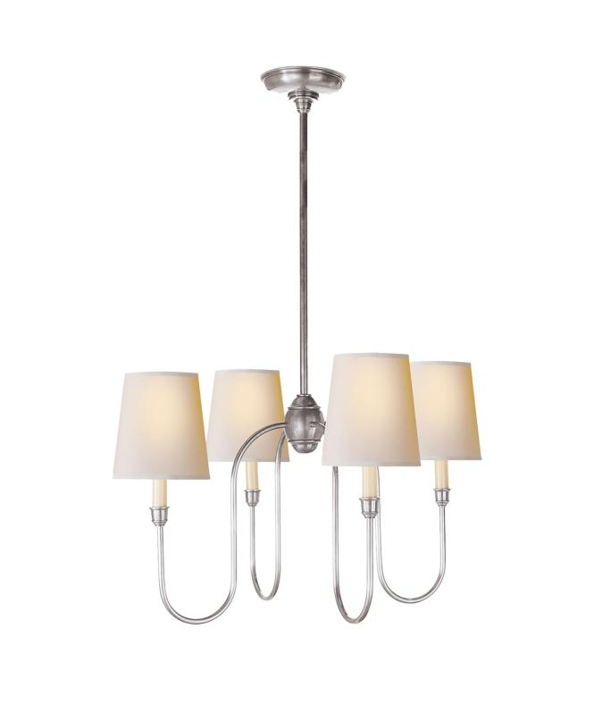 Shown In Antique Silver Finish And Natural Paper Shade