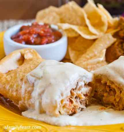 A delicious Chicken Chimichangas recipe from the Edgewater Cafe - a popular North of Boston-area restaurant.