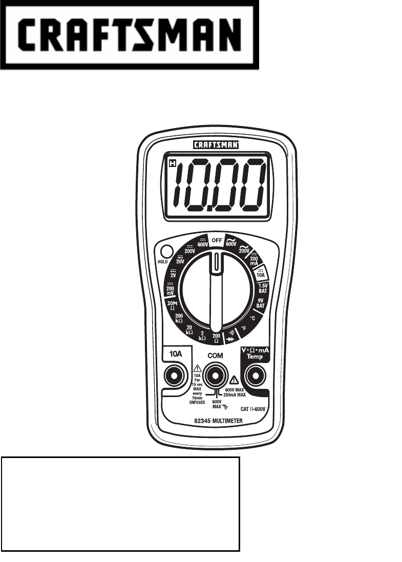 Craftsman 82345 Multimeter Owner's manual PDF View/Download