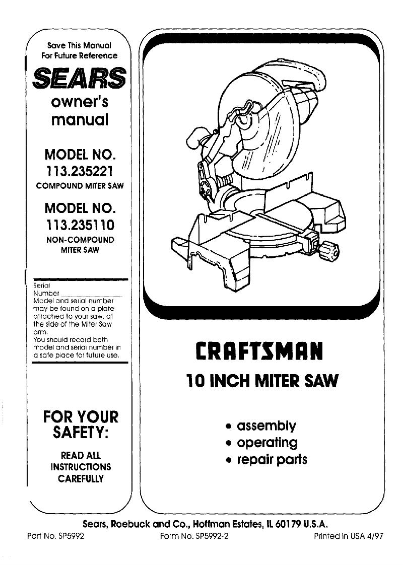 Craftsman 113.235110 Saw Owner's manual PDF View/Download