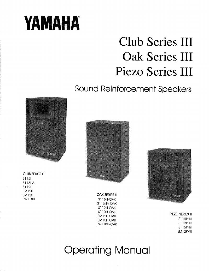 Yamaha Club Series III Oak Series III Piezo Series III