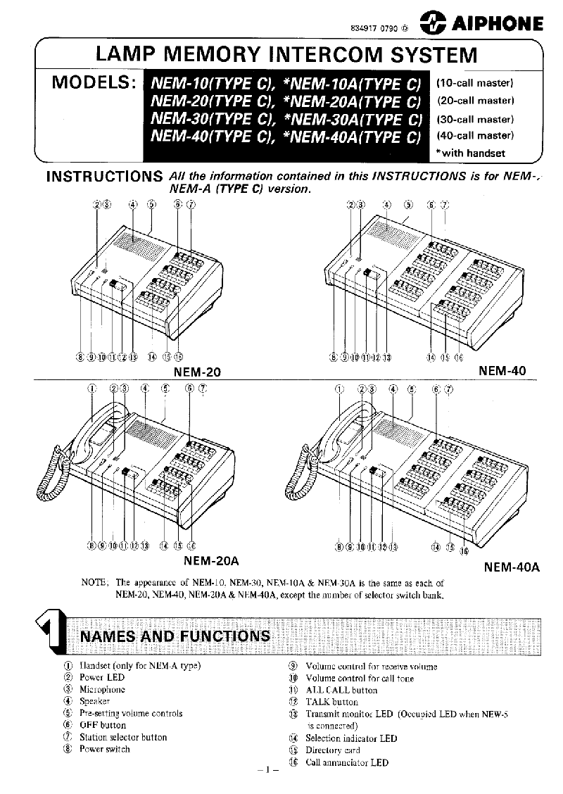 Aiphone NEM-40A Recording Equipment Instructions manual