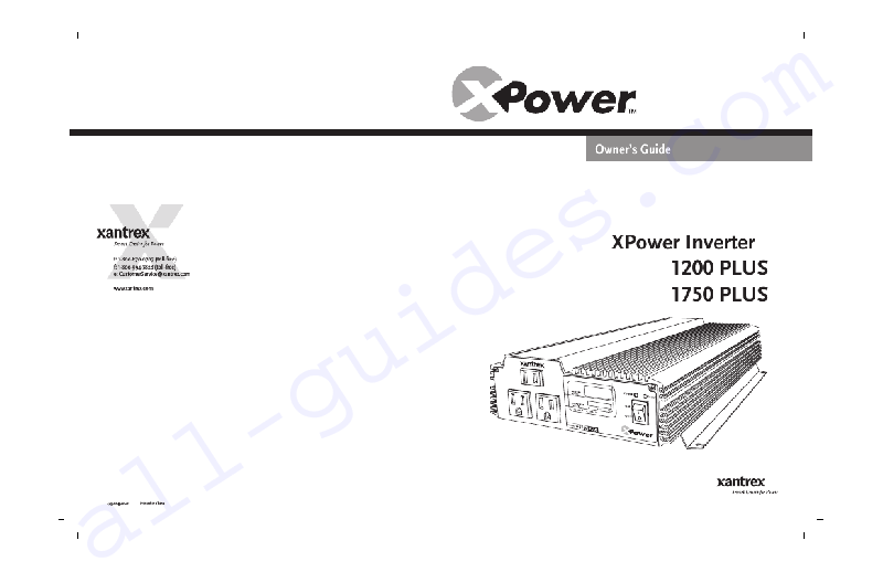 Xantrex XPower 1200 PLUS Inverter Owner's manual PDF View